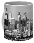 Philadelphia Skyline Black And White Bw Wide Pano Coffee Mug