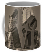 Philly Esque  - Love Statue In Sepia Coffee Mug