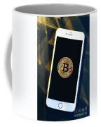 Phone With A Bitcoin Laying On Top Of It. Coffee Mug