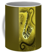 Piano Keys In A  Saxophone Golden - Music In Motion Coffee Mug
