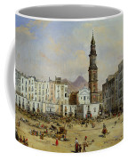 Piazza Mazaniello In Naples Coffee Mug by Jean Auguste Bard