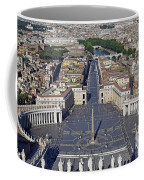 Piazza San Pietro And Colonnaded Square As Seen From The Dome Of Saint Peter's Basilica - Rome, Ital Coffee Mug