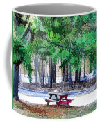 Picnic Area With Wooden Tables 3 Coffee Mug
