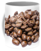 Pile Of Coffee Beans Isolated On White Coffee Mug