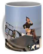 Pin-up Girl Sitting On The Wing Coffee Mug by Christian Kieffer