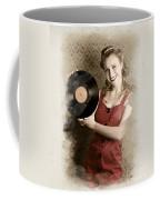 Pin-up Rockabilly Woman Holding Vinyl Record Lp Coffee Mug