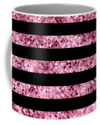 Pink And Black Glitter Sequin Stripes Coffee Mug