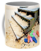 Pink And Blue Flip Flops By The Steps Coffee Mug