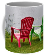 Pink And Green Lounging Chairs By The Lake Coffee Mug by Louise Heusinkveld