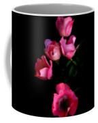Pink And White Flowers On Black Coffee Mug