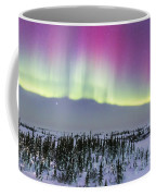 Pink Aurora Over Boreal Forest Coffee Mug