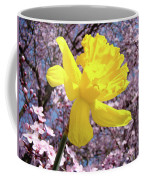 Pink Blossom Spring Trees Yellow Daffodil Flower Baslee Troutman Coffee Mug