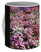Pink Button Pom Flowers Coffee Mug