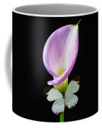 Pink Calla Lily With White Butterfly Coffee Mug