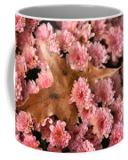 Pink Chrysanthemums With Pin Oak Leaf Coffee Mug