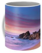 Pink Clouds And Rocky Headland Seascape Coffee Mug