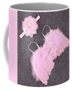 Pink Feather Baby Girl Angel Wings With Flower Lace Headband Coffee Mug