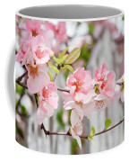 Pink Flowers And A White Picket Fence Coffee Mug