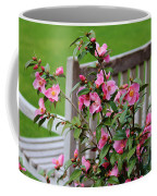 Pink Flowers By The Bench Coffee Mug
