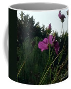 Pink Flowers In Front Of Trees Coffee Mug