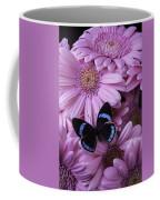 Pink Gerbera Daises And Butterfly Coffee Mug