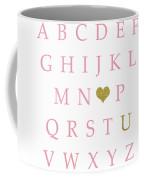 Pink Gold Abc Alphabet Heart Sampler Print Coffee Mug