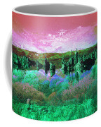 Pink Green Waterscape - Fantasy Artwork Coffee Mug
