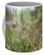 Pink Heather, Calluna Vulgaris, In Foggy Forest Coffee Mug