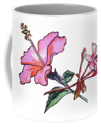 Pink Hibiscus And Geranium  Coffee Mug