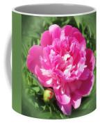 Pink Peony On Green Coffee Mug