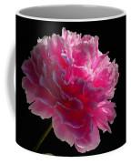 Pink Peony On A Black Background Coffee Mug