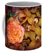 Pink Rose And Yellow Orchids Coffee Mug