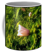 Pink Rose Of Sharon Against Trees Coffee Mug