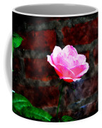 Pink Rose On Red Brick Wall Coffee Mug