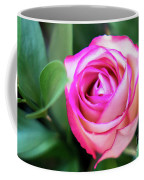 Pink Rose With Leaves Coffee Mug