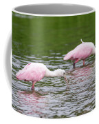 Pink Roseate Spoonbills Feeding Coffee Mug