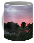 Pink Sunset With Green Riverbank Coffee Mug