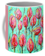Pink Tulip, Turquoise Coffee Mug