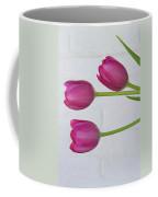 Pink Tulips And White Brick Wall Coffee Mug