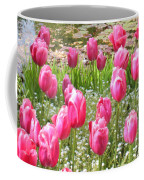 Pink Tulips By Peaceful Pond Coffee Mug