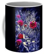 Pink Zinnia's Against A Silver Background Coffee Mug