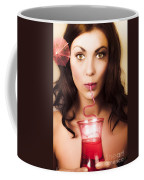 Pinup Poster Girl Drinking At Retro Cocktail Party Coffee Mug