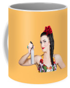 Pinup Woman Holding A Cleaning Spray Bottle Coffee Mug