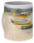 Piper Super Cub Floatplane Near Pond In Maine Canvas Poster Print Coffee Mug