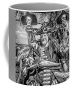 Pirate Captain And Parrots Black And White Coffee Mug