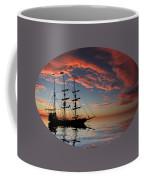 Pirate Ship At Sunset Coffee Mug by Shane Bechler