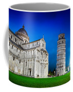 Pisa Cathedral With The Leaning Tower Of Pisa, Tuscany, Italy At Night Coffee Mug