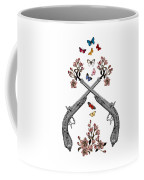 Pistols Wit Flowers And Butterflies Coffee Mug