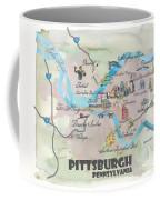 Pittsburgh Pennsylvania Fine Art Print Retro Vintage Map With Touristic Highlights Coffee Mug