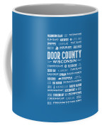 Places Of Door County On Blue Coffee Mug